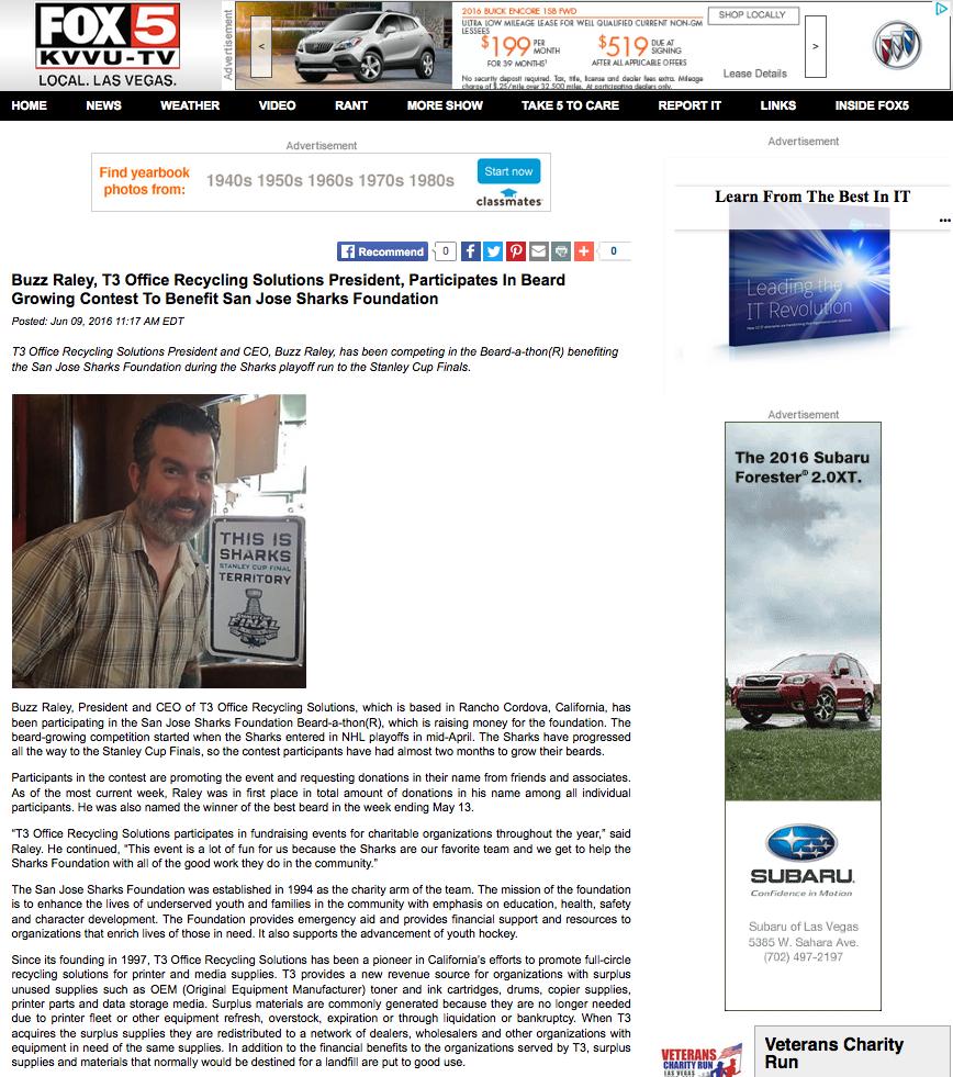T3 Sharks Article Fox 5 Las Vegas Shortened